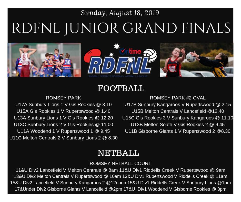 RDFL Junior GF schedule